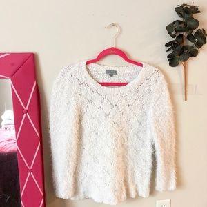 Joseph A. Fuzzy White Sweater Size M